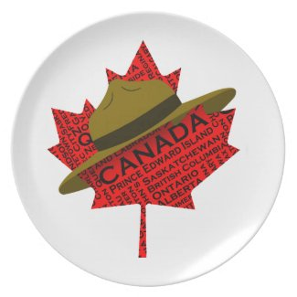 Canadian Mountie Hat on Red Maple Leaf Plates