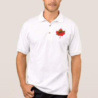 Canadian Mountie Hat on Red Maple Leaf Polo T-shirt