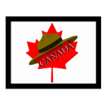 Canadian Mountie Hat on Red Maple Leaf Post Cards