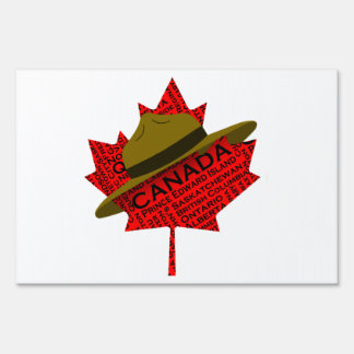Canadian Mountie Hat on Red Maple Leaf Lawn Sign