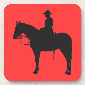 Canadian Mountie Silhouette Beverage Coaster