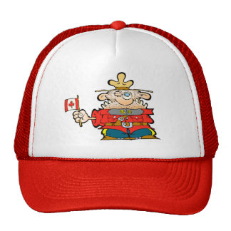 Canadian Mountie with a flag of Canada, eh. CAP Trucker Hats