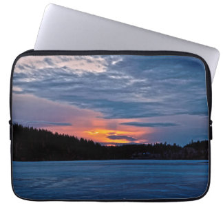 Canadian Nature Landscape Winter Lake Sunset Laptop Sleeve