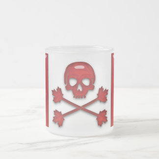 Canadian Pirate Flag Frosted Glass Mug