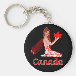 Canadian Pixie with Maple Leaf Basic Round Button Keychain