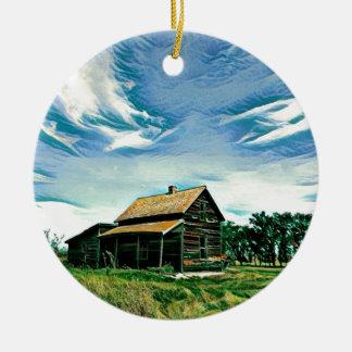 Canadian prairies homestead colour ceramic ornament