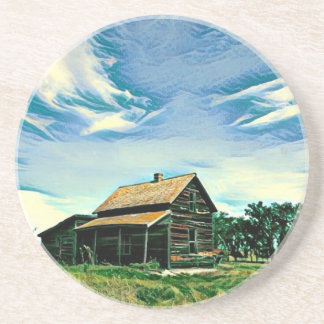 Canadian prairies homestead colour drink coaster