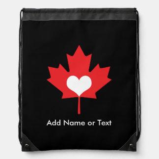 Canadian Pride - I Love Canada Maple Leaf Drawstring Bag