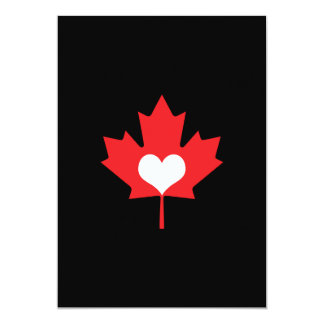 Canadian Pride - I Love Canada Maple Leaf 5x7 Paper Invitation Card