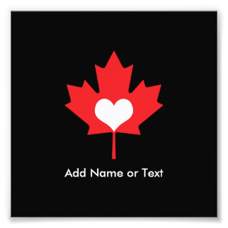 Canadian Pride - I Love Canada Maple Leaf Photographic Print