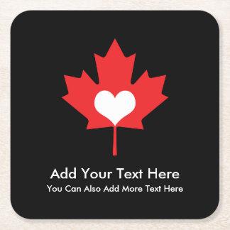 Canadian Pride - I Love Canada Maple Leaf Square Paper Coaster