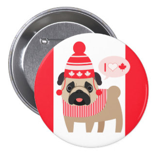 Canadian Pug in Winter Hat Pinback Button