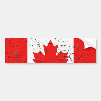 Canadian Red Maple Leaf CANADA Peeling Paint looks Bumper Sticker