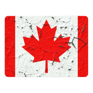 Canadian Red Maple Leaf CANADA Peeling Paint Print Card