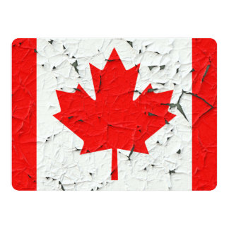 Canadian Red Maple Leaf CANADA Peeling Paint Print 6.5x8.75 Paper Invitation Card