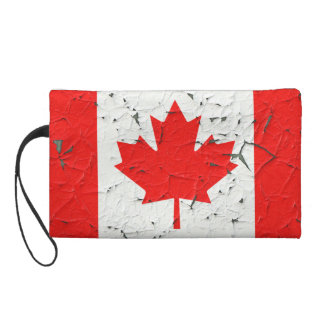 Canadian Red Maple Leaf CANADA Peeling Paint style Wristlet