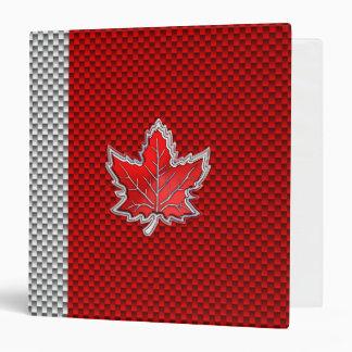Canadian Red Maple Leaf Carbon Fiber retro style Binder
