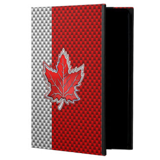 Canadian Red Maple Leaf Carbon Fiber retro style iPad Air Cover