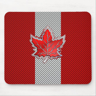 Canadian Red Maple Leaf Carbon Fiber retro style Mouse Pad