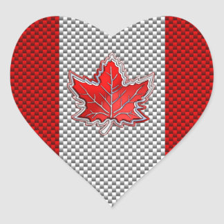 Canadian Red Maple Leaf in Carbon Fiber looks Heart Sticker