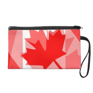 Canadian red Maple Leaf Layered Style CANADA Wristlet Purse