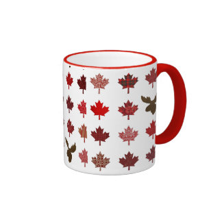 Canadian Red Maple Leaf (leaves and moose) Mugs