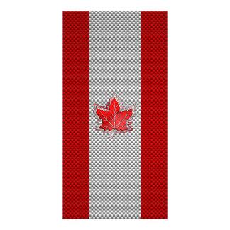Canadian Red Maple Leaf on Carbon Fiber Print Card