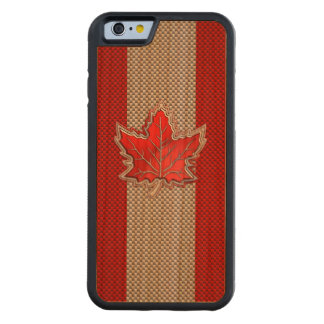 Canadian Red Maple Leaf on Carbon Fiber style Carved Cherry iPhone 6 Bumper Case