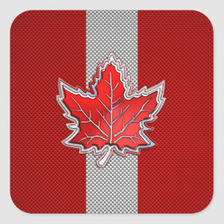 Canadian Red Maple Leaf on Carbon Fiber style Square Sticker