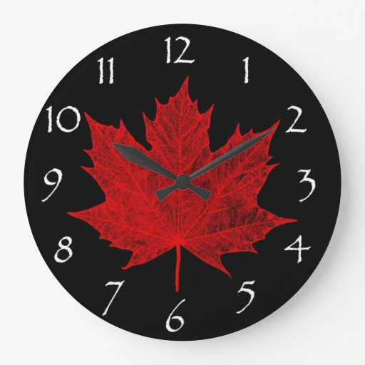 Canadian red maple leaf red and black wall clocks zazzle for Red and black wall clock