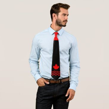 Canadian Red Maple on Black with Chevron Neck Tie