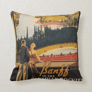 Canadian Rockies retro travel pillow