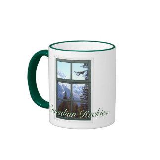 Canadian Rockies Rocky Mountains Window View Ringer Coffee Mug