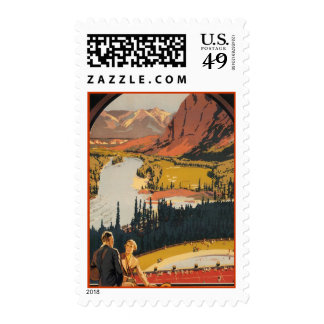 Canadian Rockies Travel Poster Custom Postage