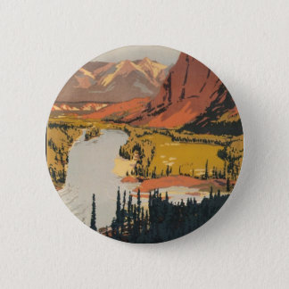 Canadian Rockies Travel Poster Round Button