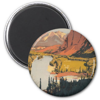Canadian Rockies Travel Poster Round Magnet