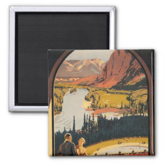 Canadian Rockies Travel Poster Square Magnet