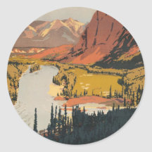 Canadian Rockies Travel Poster Stickers