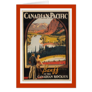 Canadian Rockies Travel Poster Vertical Card