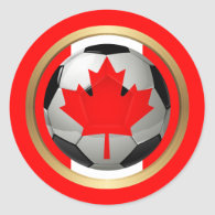 Canadian Soccer Ball Classic Round Sticker