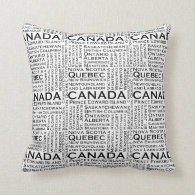 Canadian States & Cities Throw Pillows