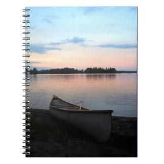 Canadian sunrise, canoe, cottage country notebook