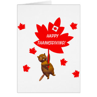 Canadian Thanksgiving Beaver and Maple Leaves Card at Zazzle
