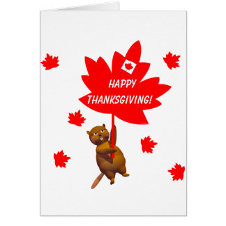 Canadian Thanksgiving Beaver and Maple Leaves Card