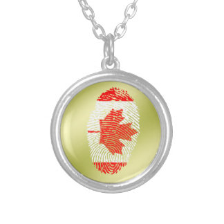 Canadian touch fingerprint flag silver plated necklace