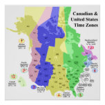 Canadian & United States Political Time Zone Map Poster