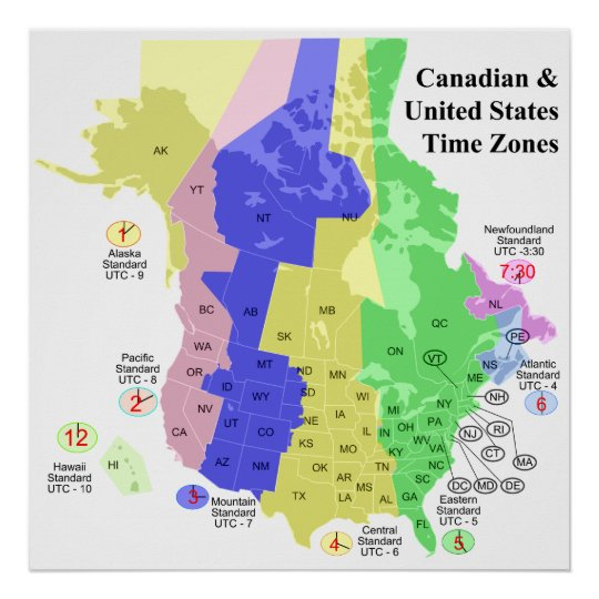 Time Zone Map Black And White: Canadian & United States Political Time Zone Map Poster
