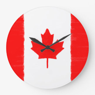 Canadian wax pencil sketched flag large clock