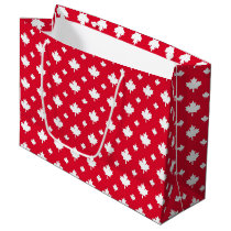 Canadian White Maple Leaf Red Colour Pattern Large Gift Bag