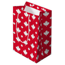 Canadian White Maple Leaf Red Colour Pattern Medium Gift Bag